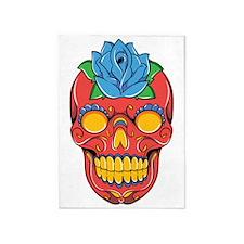 Red Sugar Skull 5'x7'Area Rug
