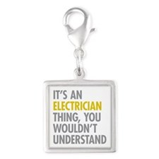 Its An Electrician Thing Silver Square Charm