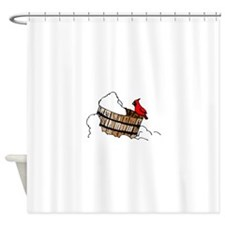 Cardinal On Bucket Shower Curtain