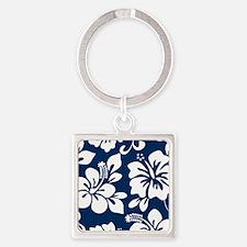 Navy Blue Hawaiian Hibiscus Keychains