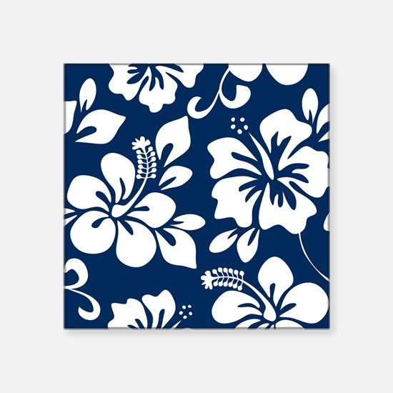 Navy Blue Hawaiian Hibiscus Sticker