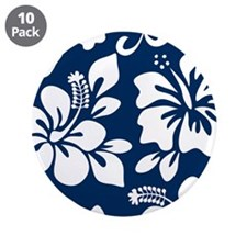 "Navy Blue Hawaiian Hibiscus 3.5"" Button (10 pack)"