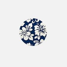 Navy Blue Hawaiian Hibiscus Mini Button