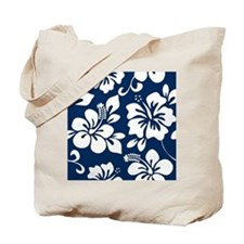 Navy Blue Hawaiian Hibiscus Tote Bag