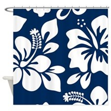 Navy Blue Hawaiian Hibiscus Shower Curtain