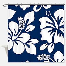 Navy Blue Hawaiian Hibiscus Shower Curtain