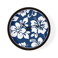 Navy Blue Hawaiian Hibiscus Wall Clock
