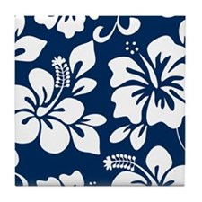Navy Blue Hawaiian Hibiscus Tile Coaster