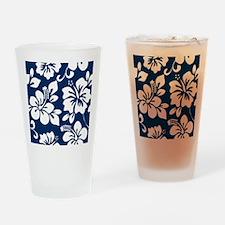 Navy Blue Hawaiian Hibiscus Drinking Glass