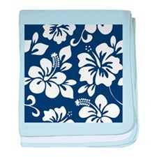 Navy Blue Hawaiian Hibiscus baby blanket