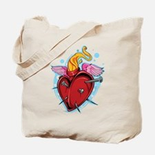 Flying Nailed Heart Tote Bag