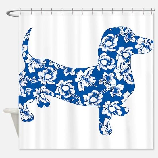 Hawaiian Dachshund Doxie Shower Curtain