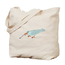 Bird Getting Worm Tote Bag