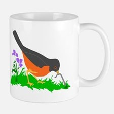 Bird Getting Worm Mugs