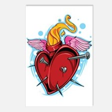 Flying Nailed Heart Postcards (Package of 8)