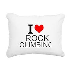 I Love Rock Climbing Rectangular Canvas Pillow