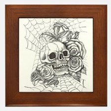 Skull and Roses Framed Tile