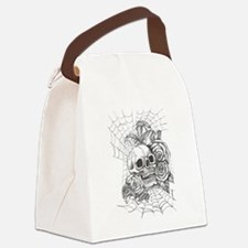 Skull and Roses Canvas Lunch Bag