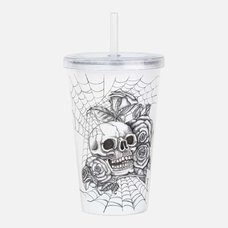 Skull and Roses Acrylic Double-wall Tumbler