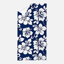 Navy Blue Hawaiian Hibiscus Beach Towel