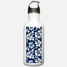 Navy Blue Hawaiian Hibiscus Water Bottle