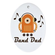 Marching Band Dad Music Robot Ornament (Oval)