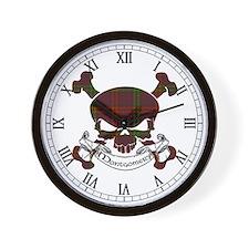 Montgomery Tartan Skull Wall Clock