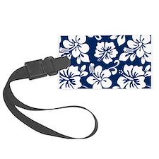 Navy Blue Hawaiian Hibiscus Luggage Tag