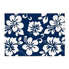 Navy Blue Hawaiian Hibiscus 5'x7'Area Rug