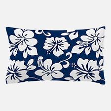 Navy Blue Hawaiian Hibiscus Pillow Case