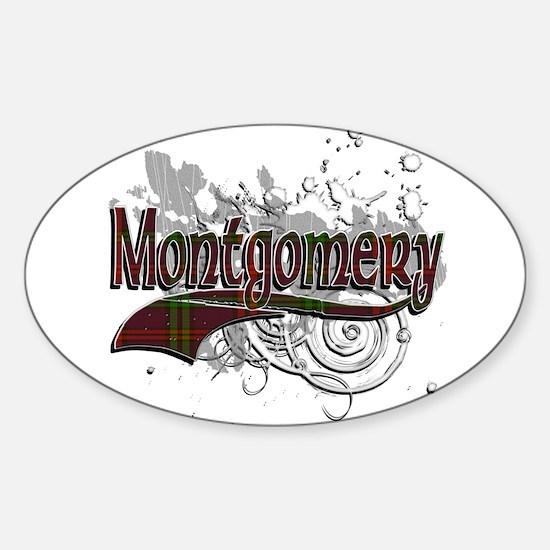 Montgomery Tartan Grunge Sticker (Oval)