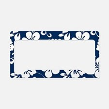 Navy Blue Hawaiian Hibiscus License Plate Holder