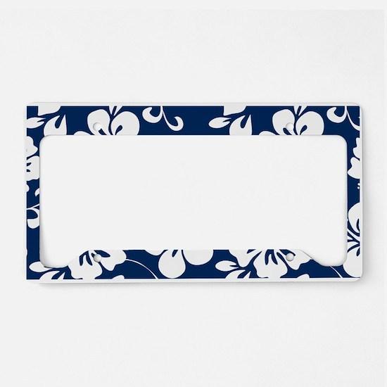 Navy Blue Hawaiian Hibiscus License Plate Holder