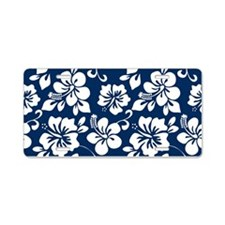 Navy Blue Hawaiian Hibiscus Aluminum License Plate