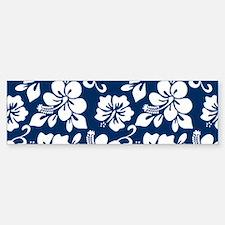 Navy Blue Hawaiian Hibiscus Bumper Bumper Bumper Sticker