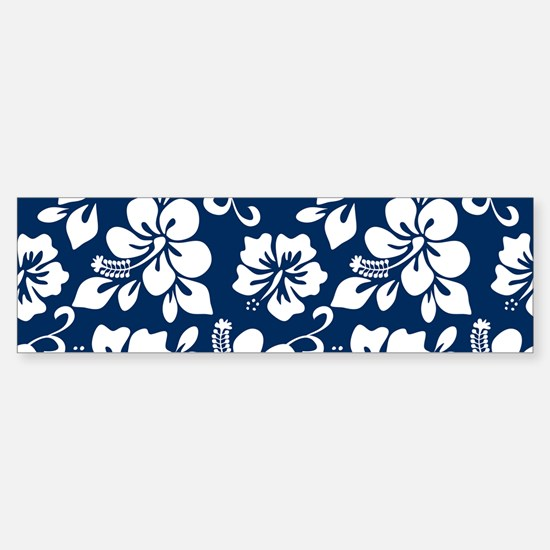 Navy Blue Hawaiian Hibiscus Bumper Bumper Bumper Sticker