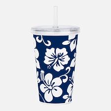 Navy Blue Hawaiian Hibiscus Acrylic Double-wall Tu