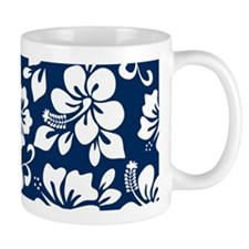 Navy Blue Hawaiian Hibiscus Mugs
