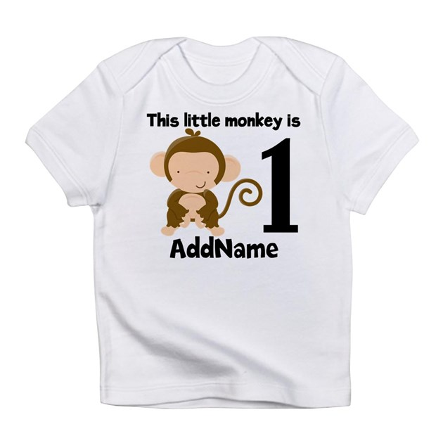 1st Birthday Monkey Personalized Infant T Shirt By