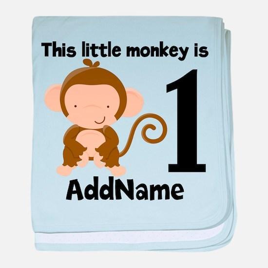 1st Birthday Monkey Personalized baby blanket