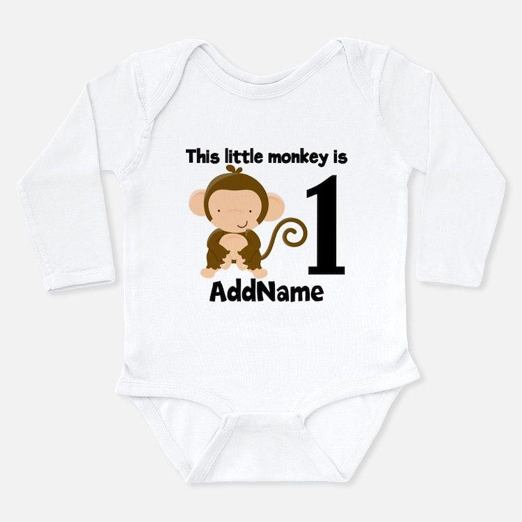 1st Birthday Monkey Personalized Body Suit