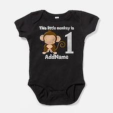1st Birthday Monkey Personalized Baby Bodysuit