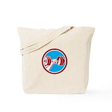Hand Lifting Dumbbell Front Circle Retro Tote Bag