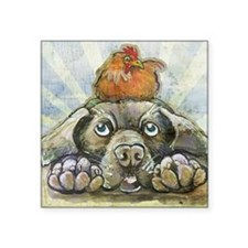 "The Chicken and the Dog Square Sticker 3"" x 3"""