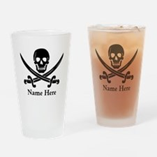 Custom Pirate Design Drinking Glass