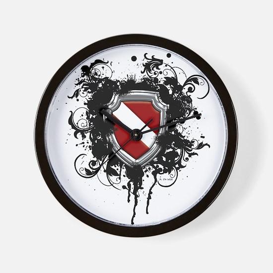 SCUBA Shield (Grunge) Wall Clock