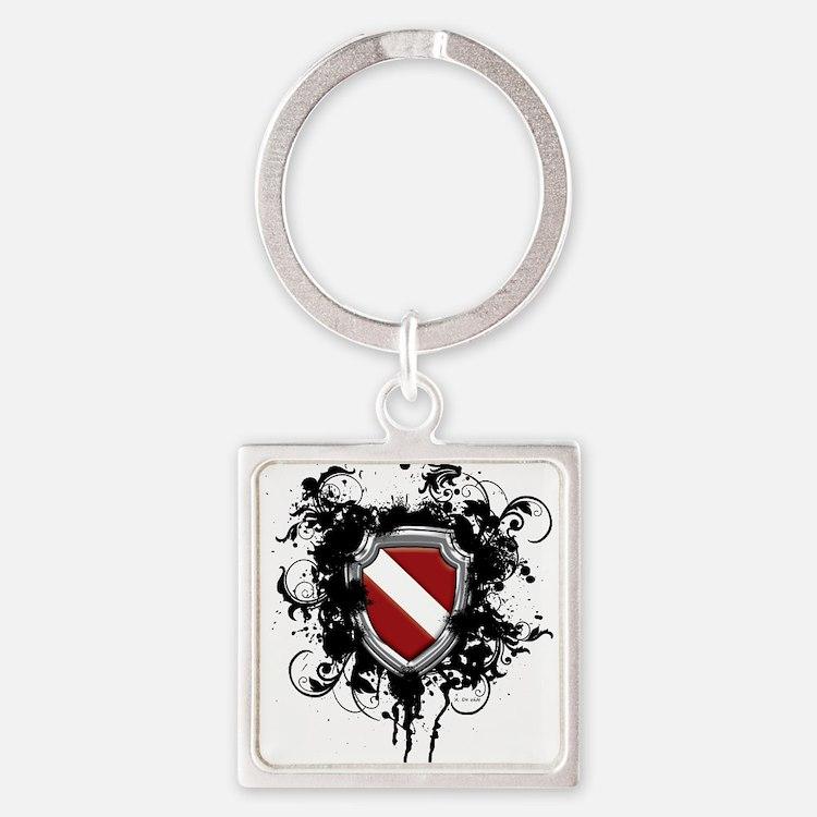 SCUBA Shield (Grunge) Square Keychain