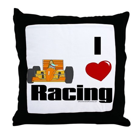 I Love Racing Throw Pillow