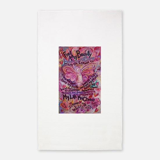 Pink Cancer Angel 3'x5' Area Rug