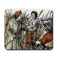Ruth in cornfield seen by Boaz, 1547 eng Mousepad